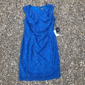 Adrianna Pappel Pleated Side Lace Sheath Dress 12p